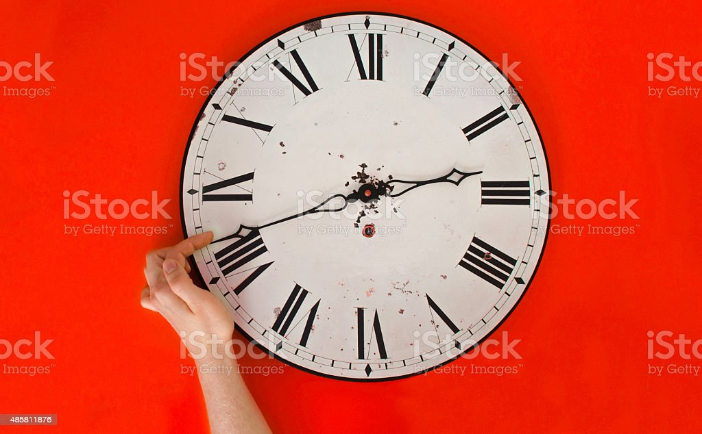 Daylight saving time clock change stock photo