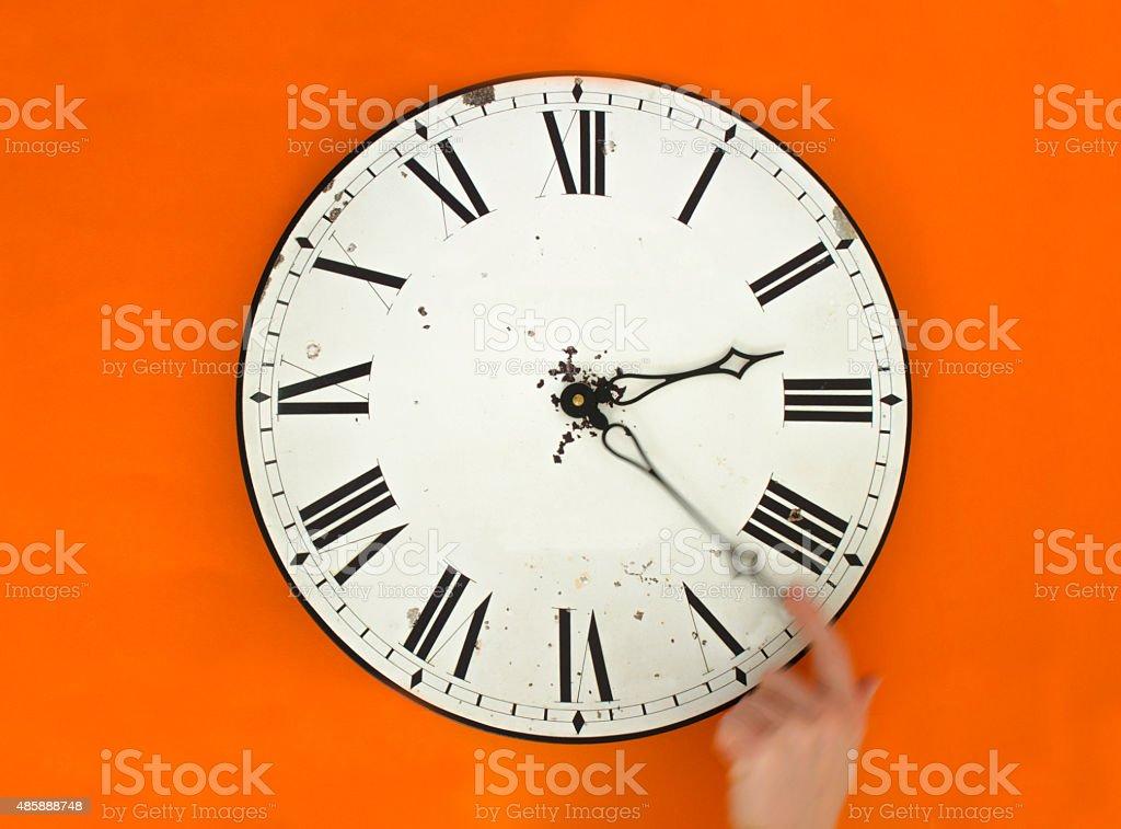 Daylight saving time clock change stock photo