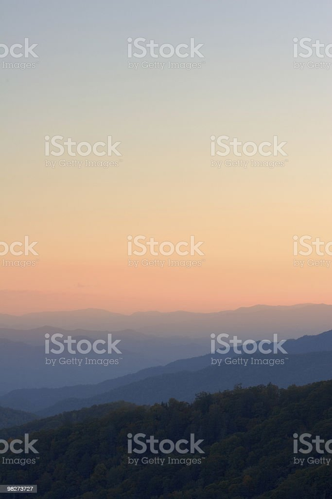 Day's End over Smoky Mountain Peaks royalty-free stock photo
