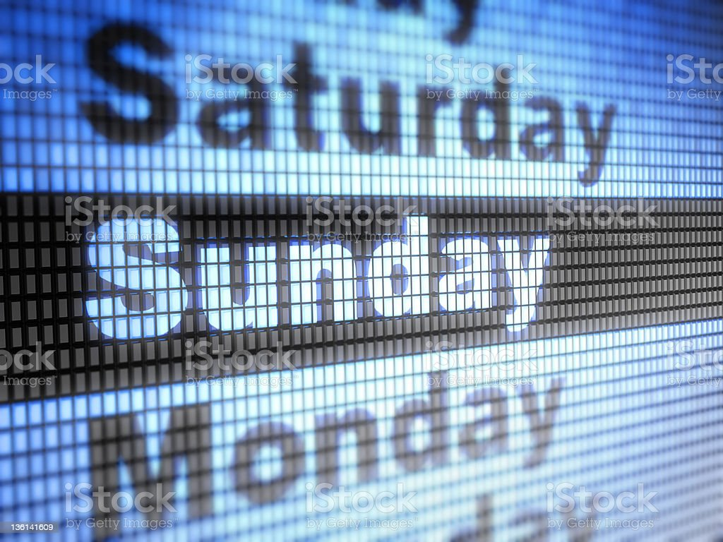 Days of the week in blue and black on screen royalty-free stock photo