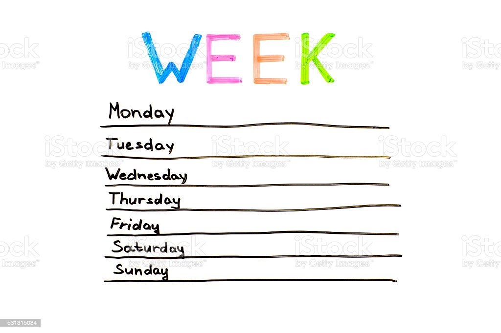 Days of the week stock photo
