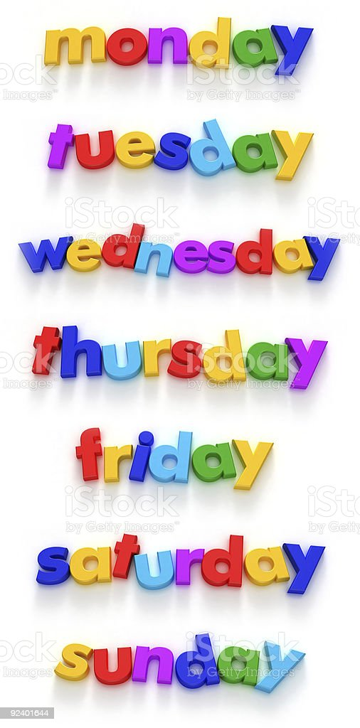 Days of the week royalty-free stock photo