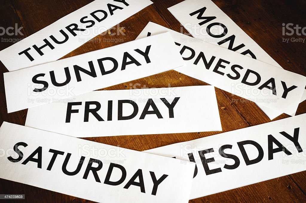Days of the week texture background stock photo