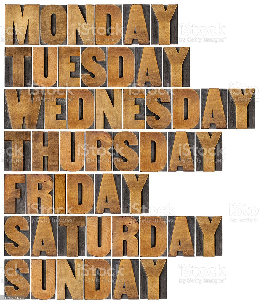 days of week in wood type royalty-free stock photo