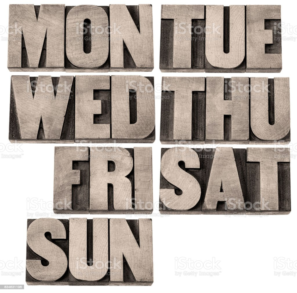 days of week in wood type stock photo