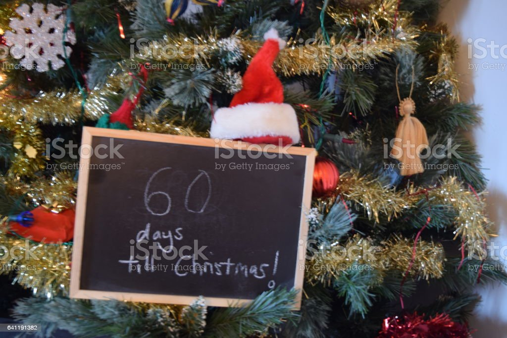 60 days until christmas countdown sign stock photo