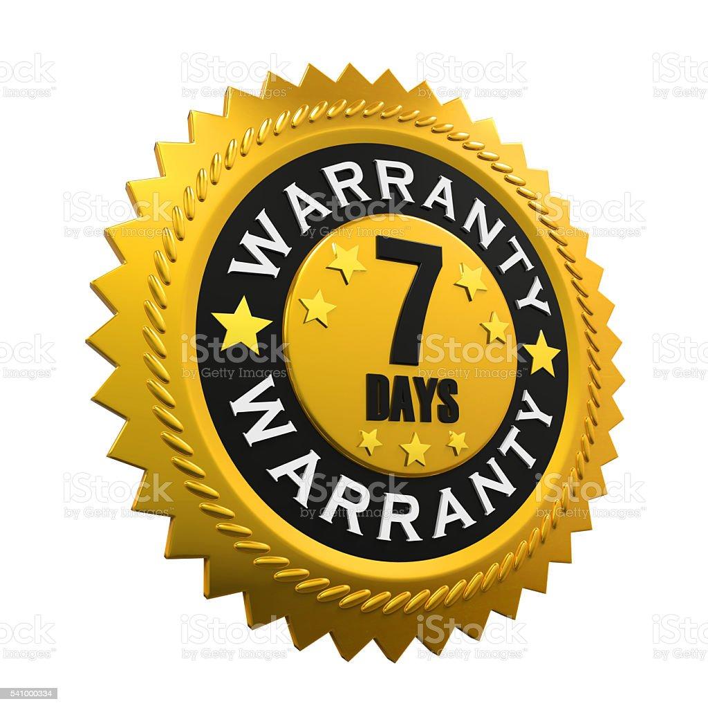 7 Days Warranty Sign stock photo