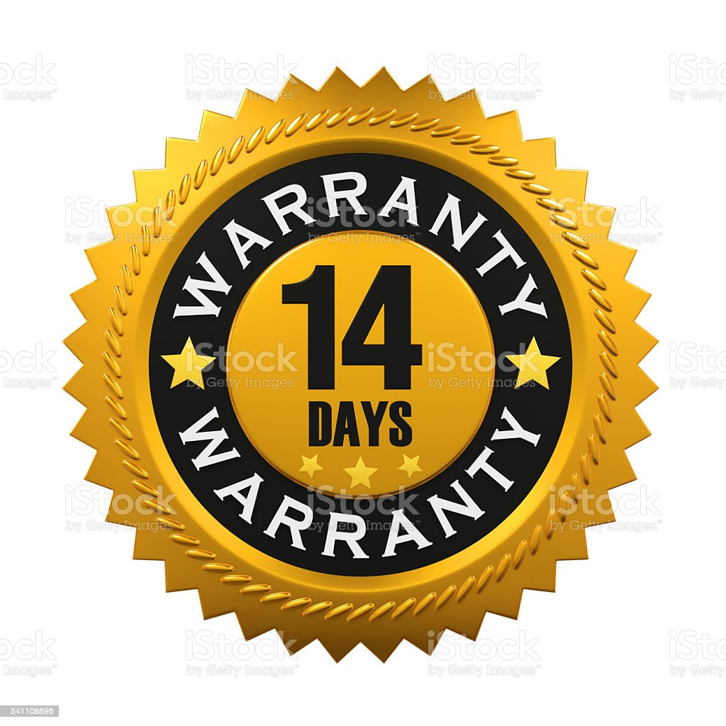 14 Days Warranty Sign stock photo
