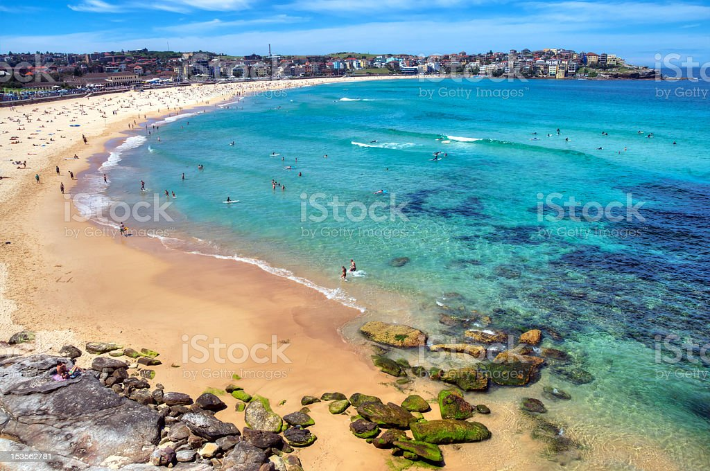 Daytime aerial view of clear waters at Bondi Beach stock photo