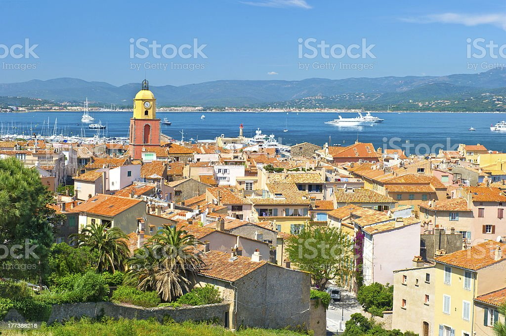 Daytime aerial view of St. Tropez stock photo