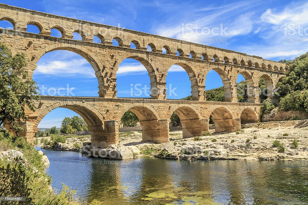 Daytime at the Pont du Gard in Provence, France stock photo