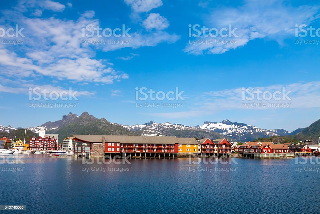 Daytime in Svolvaer, Lofoten Islands, Norway stock photo