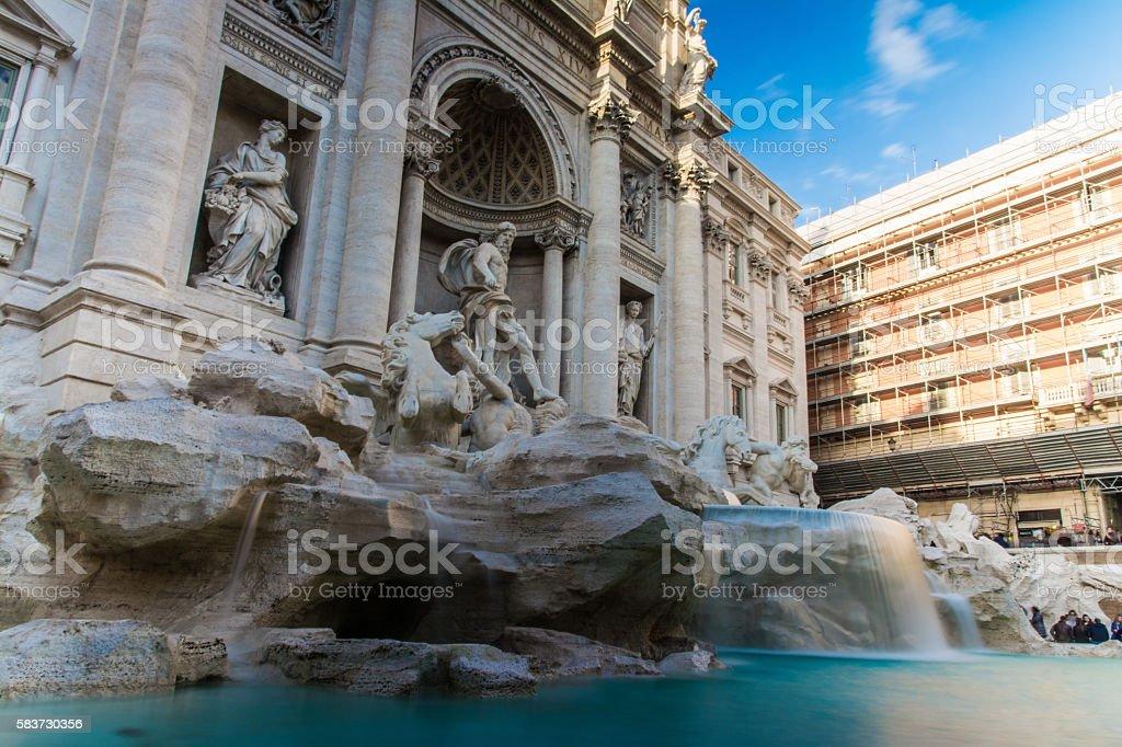 Daytime Long Exposure Fontana di Trevi Flowing Fountain Rome Italy stock photo