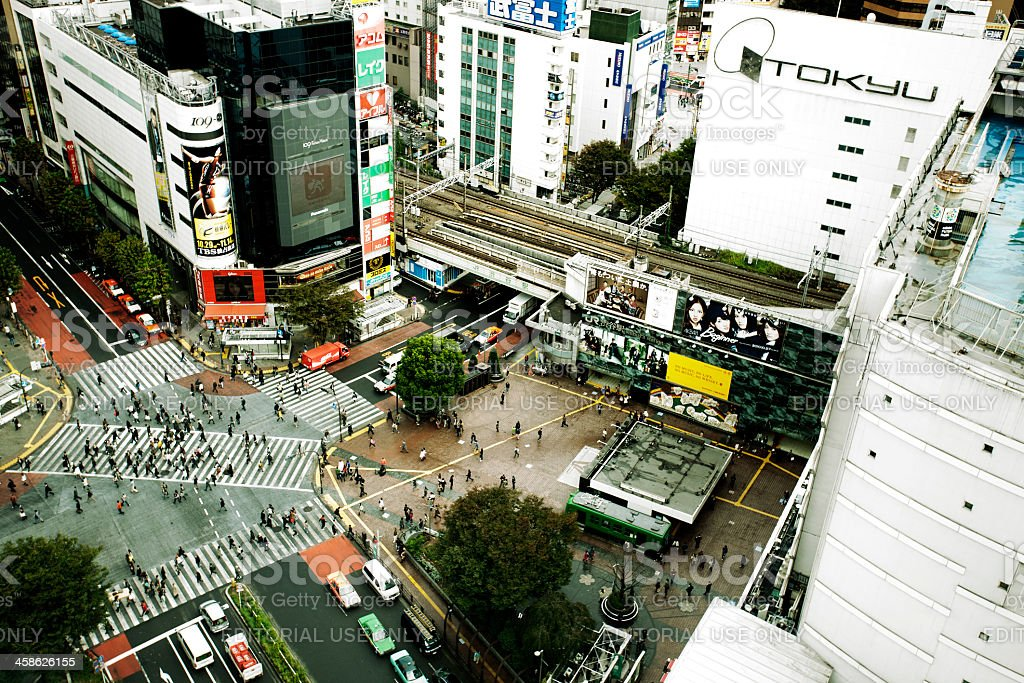 Daytime Shibuya crossing royalty-free stock photo