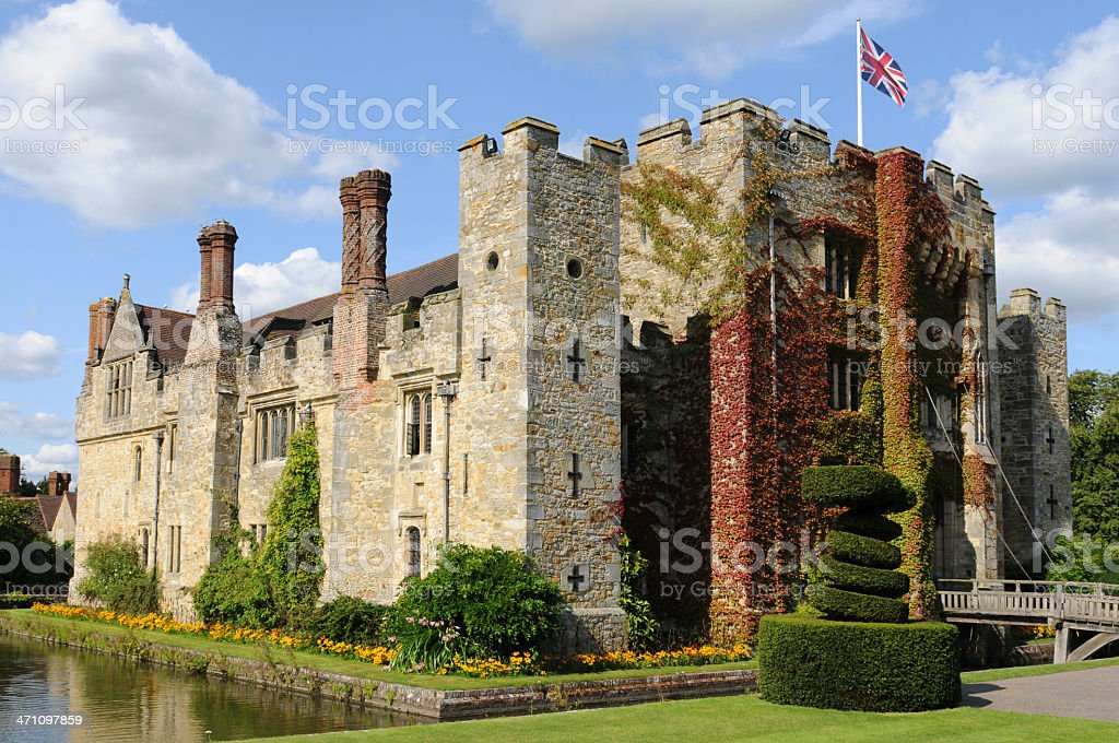 A daytime shot of Hever Castle in the United Kingdom royalty-free stock photo