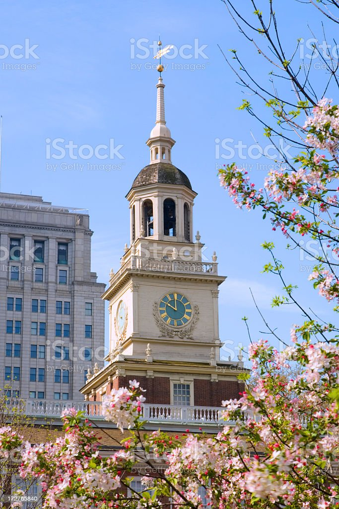 Daytime shot of Independence Hall, Philadelphia with blossom stock photo