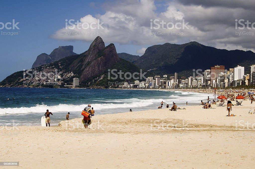 A daytime shot of Ipanema beach in the sunshine stock photo