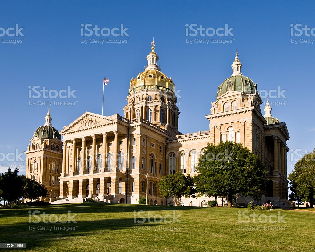 A daytime shot of the Iowa State Capital Building royalty-free stock photo