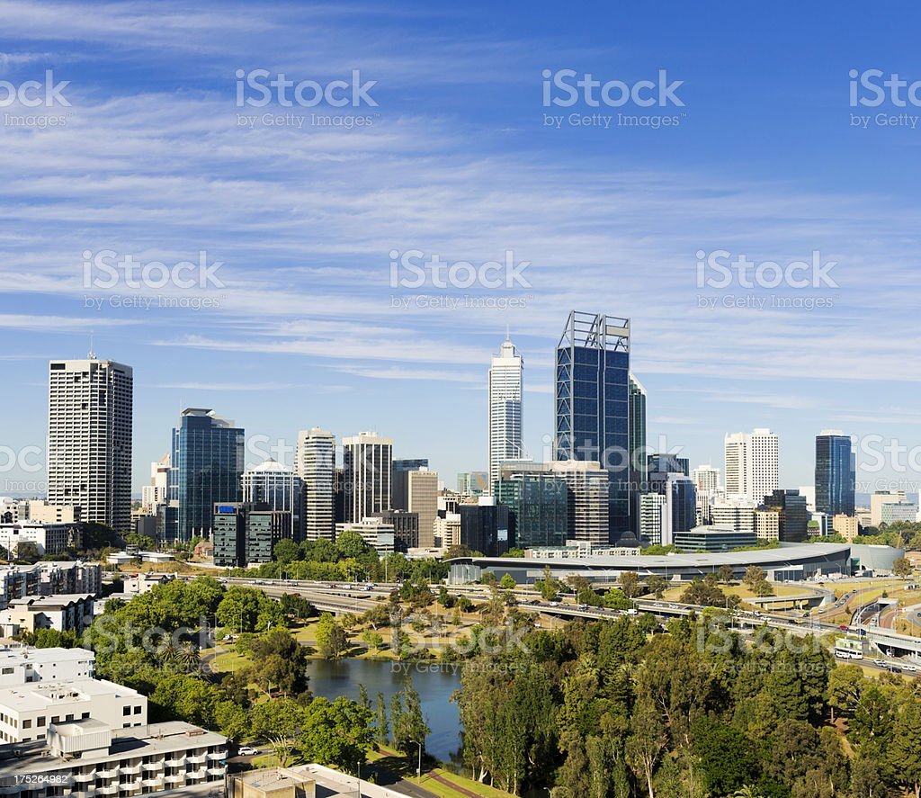 Daytime Skyline in Perth, Australia royalty-free stock photo