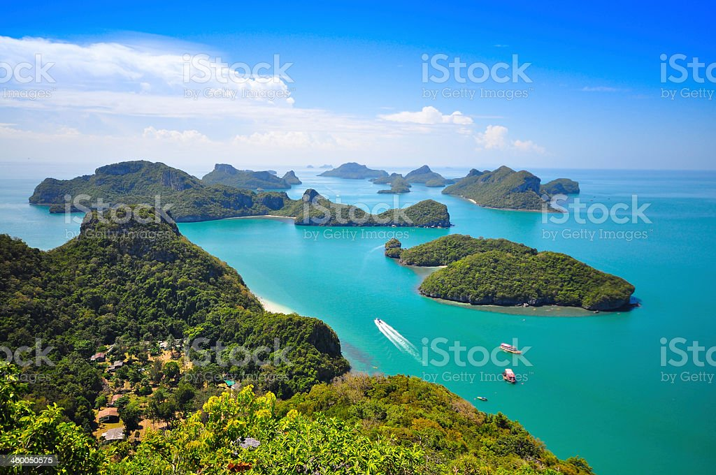 A daytime view of Ang Thong National Marine Park in Thailand stock photo