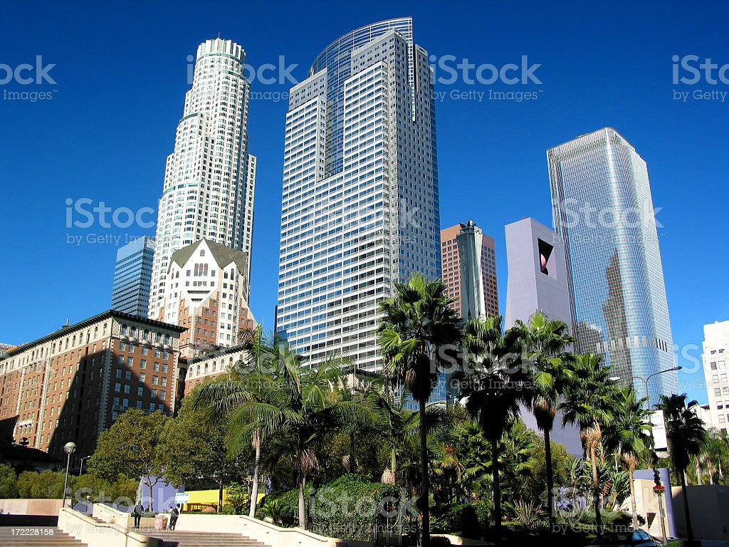 Daytime view of Los Angeles skyscrapers stock photo