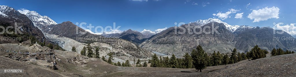 Daytime view of part of the Annapurnas Circuit in Nepal stock photo