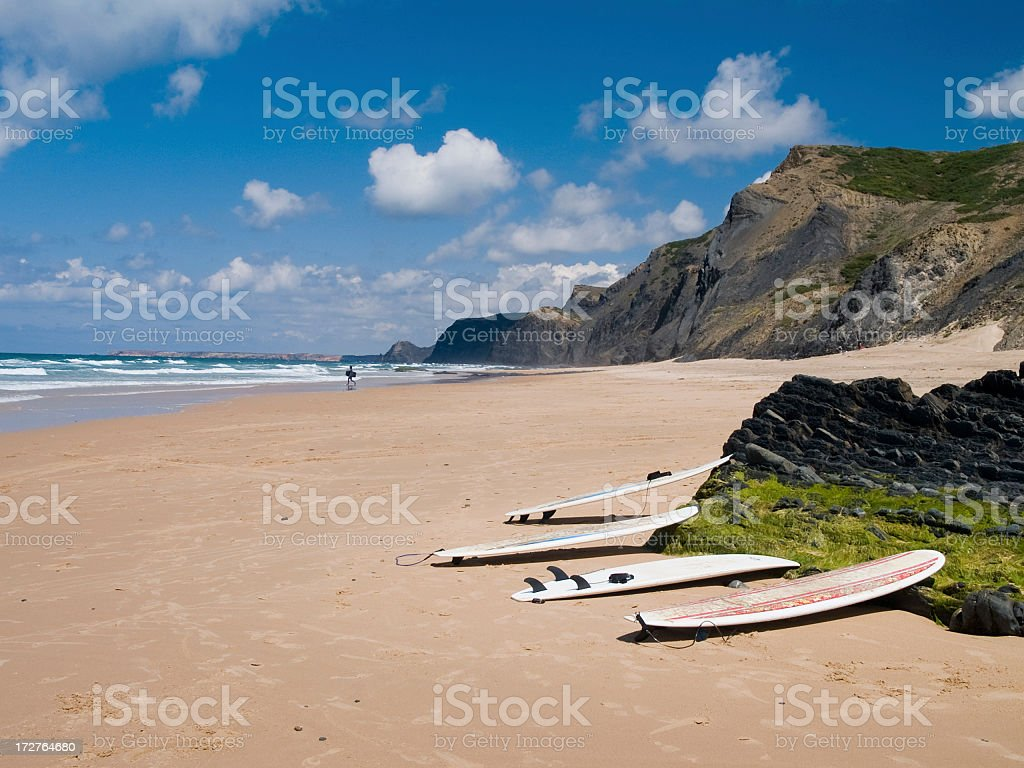 A daytime view of surfboards against a beach in Portugal royalty-free stock photo