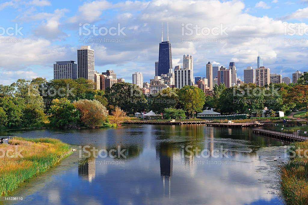 Daytime view of the Chicago Skyline across the water stock photo