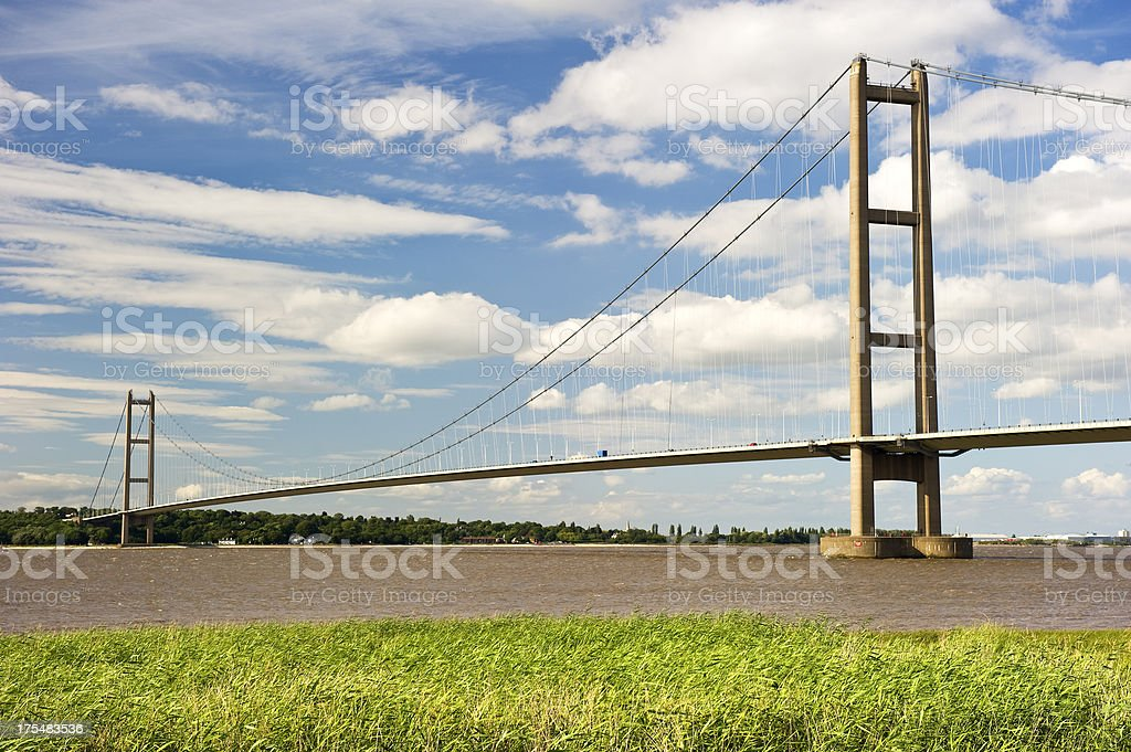 Daytime view of the Humber bridge in England stock photo