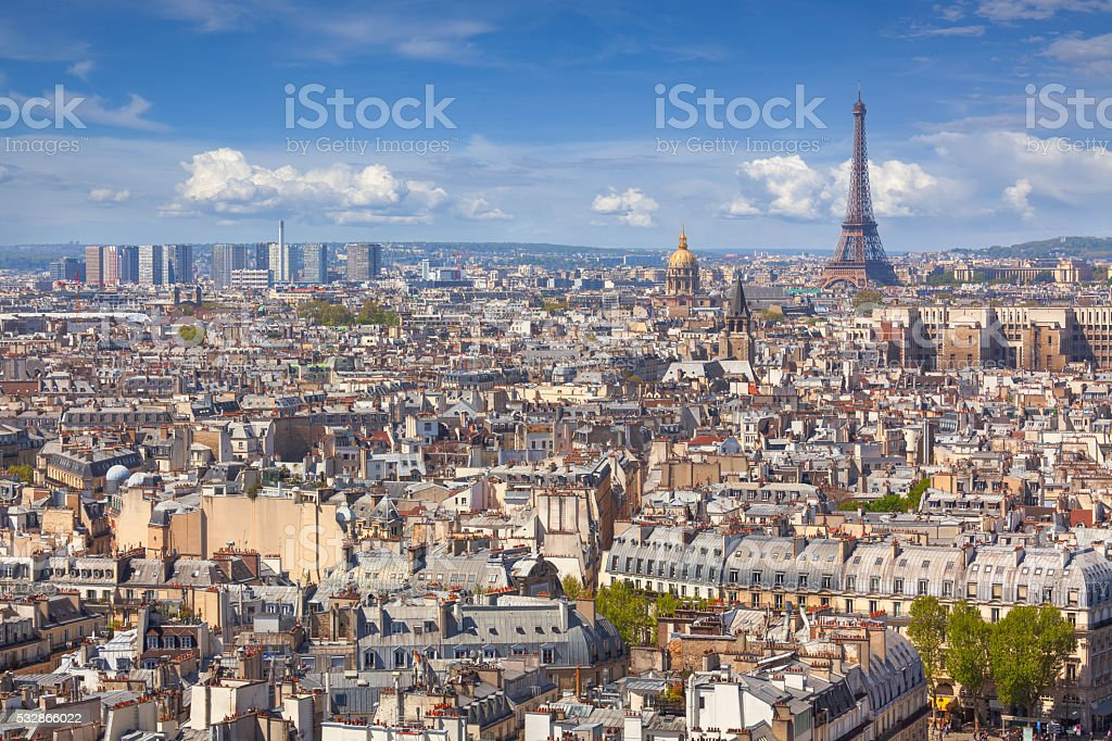 Daytime view over Paris, France stock photo
