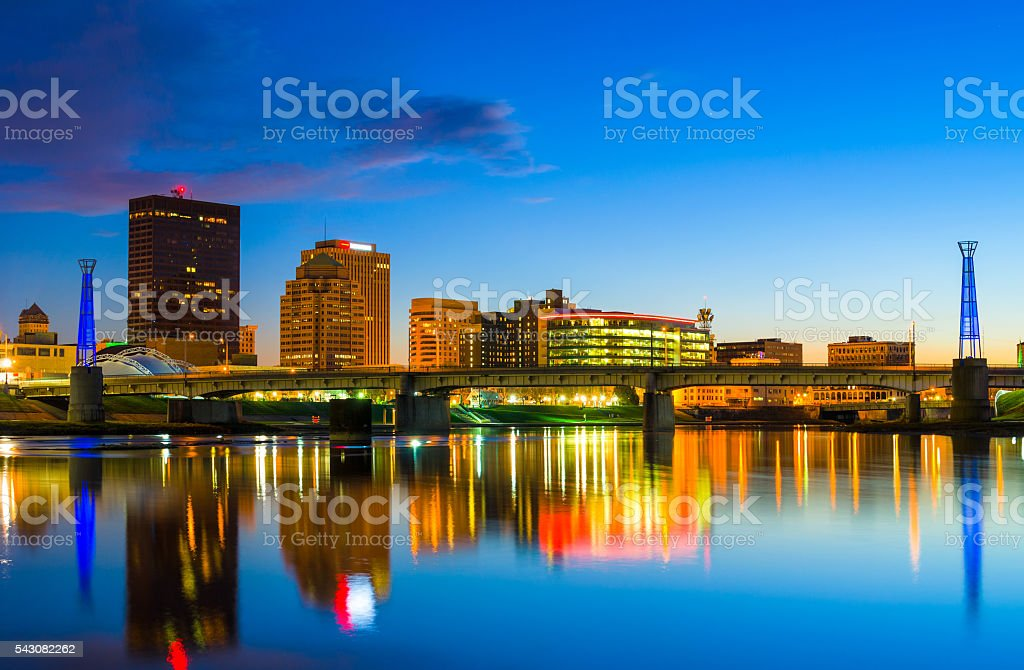Dayton Downtown Skyline with River at Dusk stock photo
