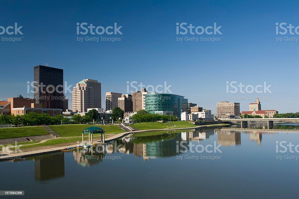 Dayton Ohio morning city scape and its reflection royalty-free stock photo