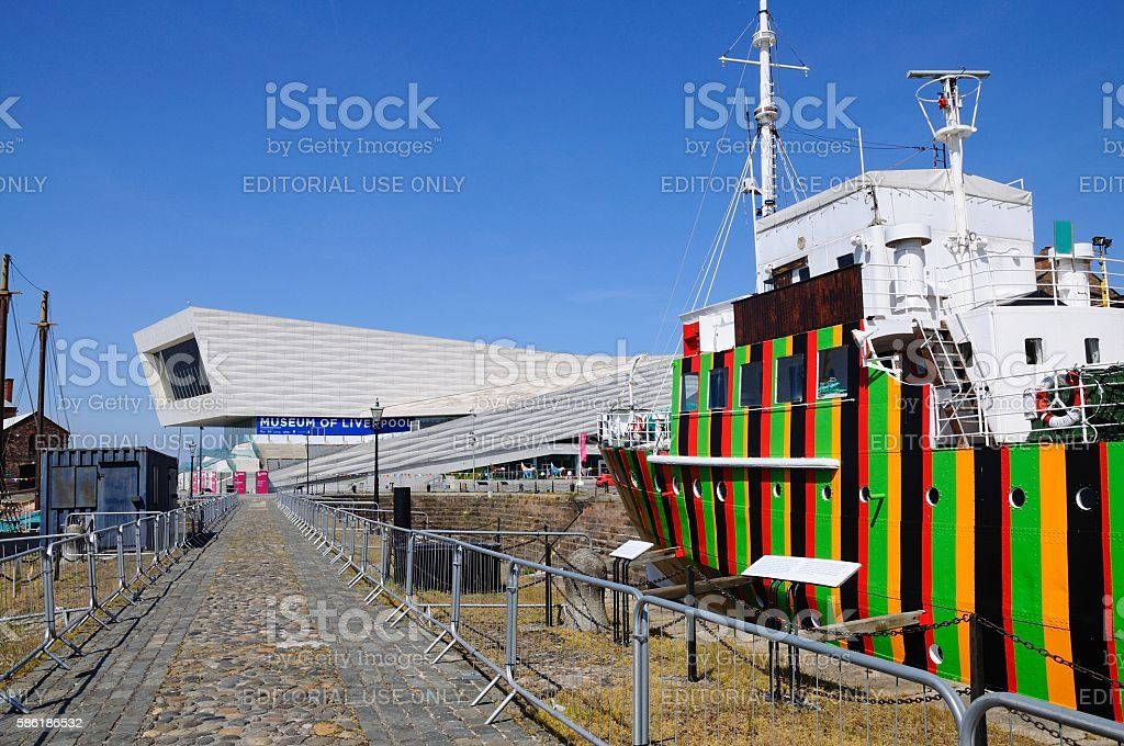 Dazzle Ship and Museum of Liverpool. stock photo