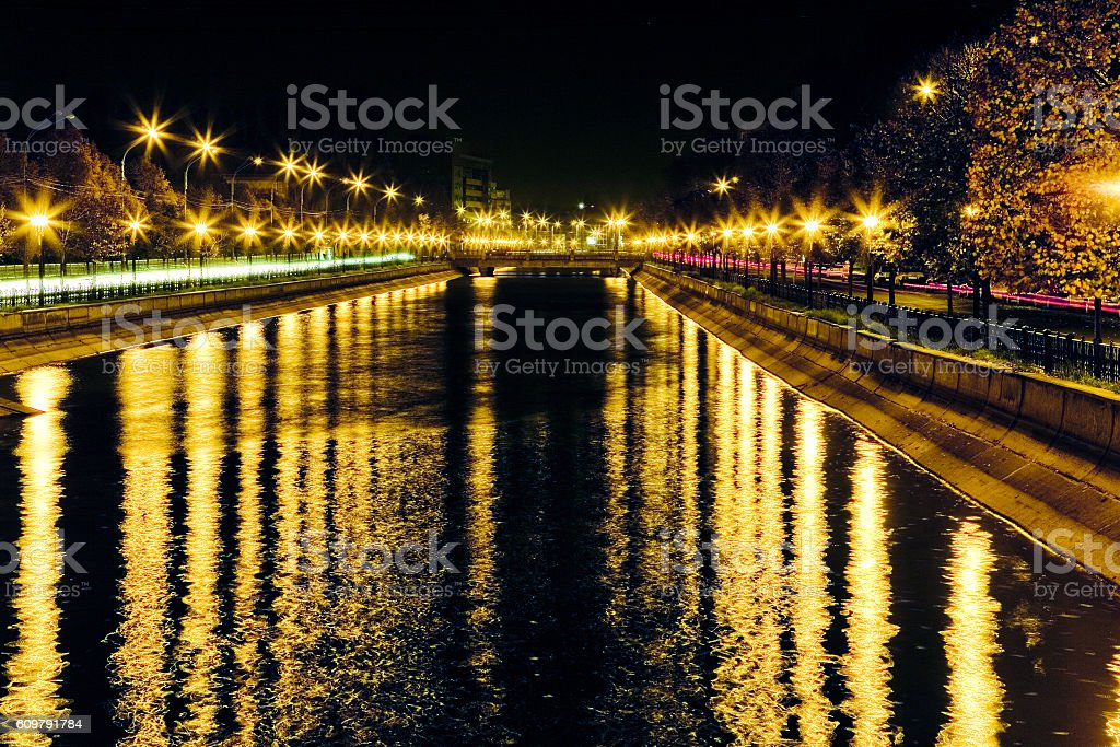 Dazzling lights by the river stock photo