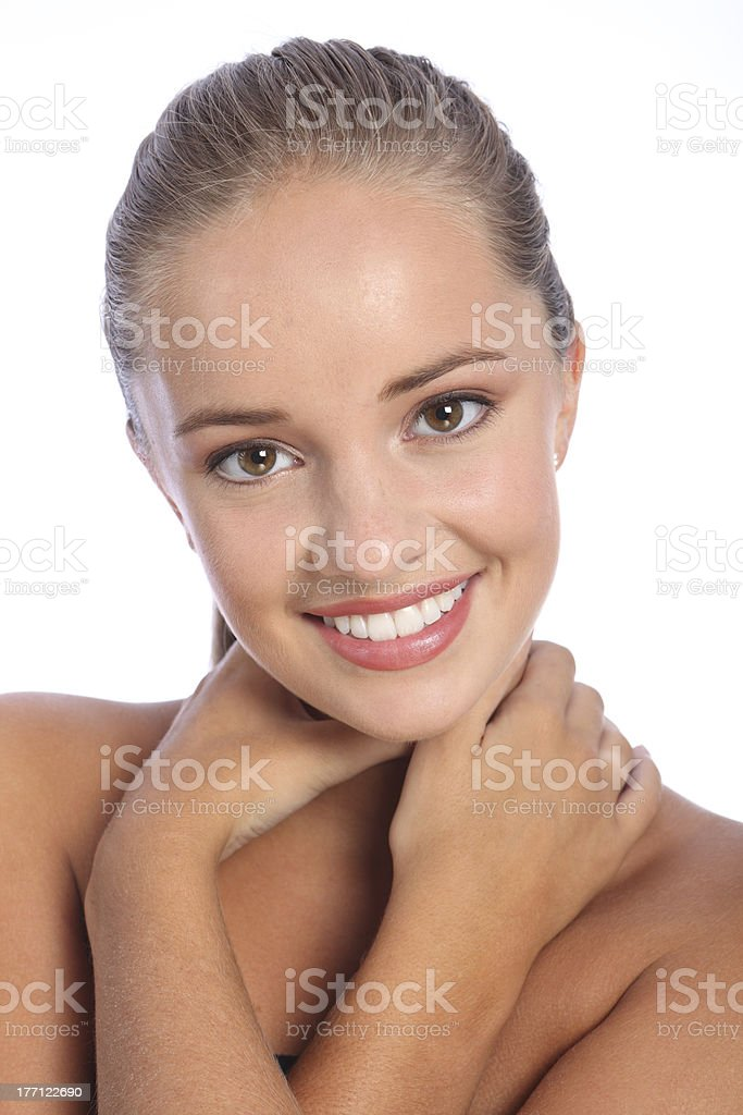 Dazzling smile by beautiful happy young woman stock photo