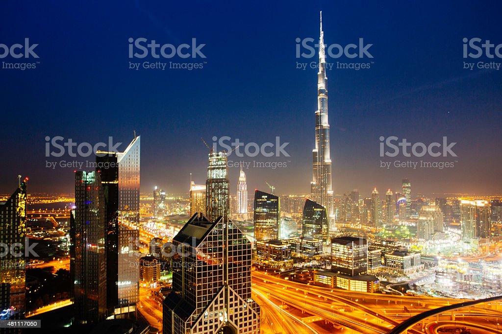 Dbuai sky line with traffic junction and Burj Khalifa stock photo