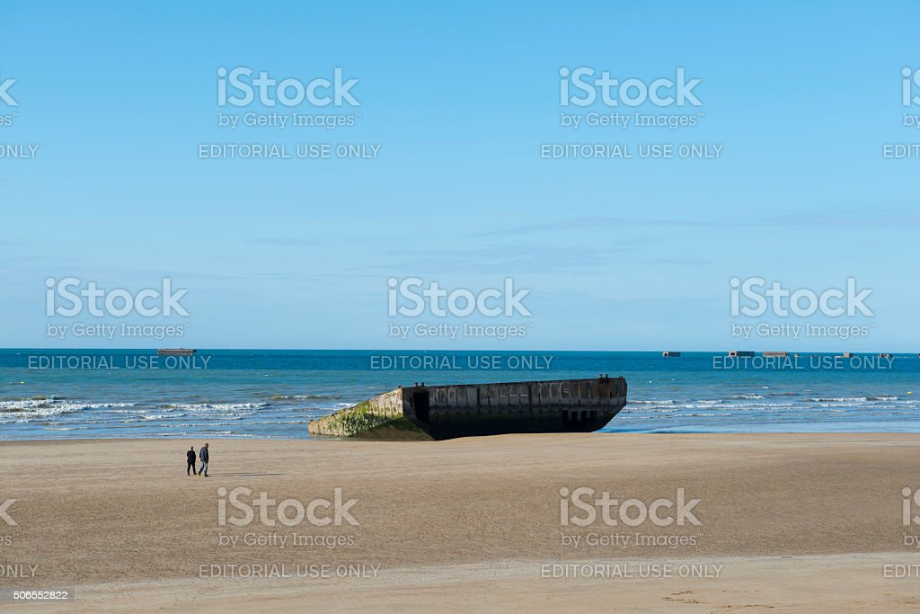 D-Day beach in Arromanches, Normandy, France stock photo