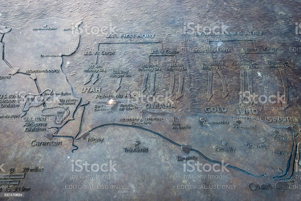 D-Day invasion map at Pointe du Hoc, Normandy stock photo