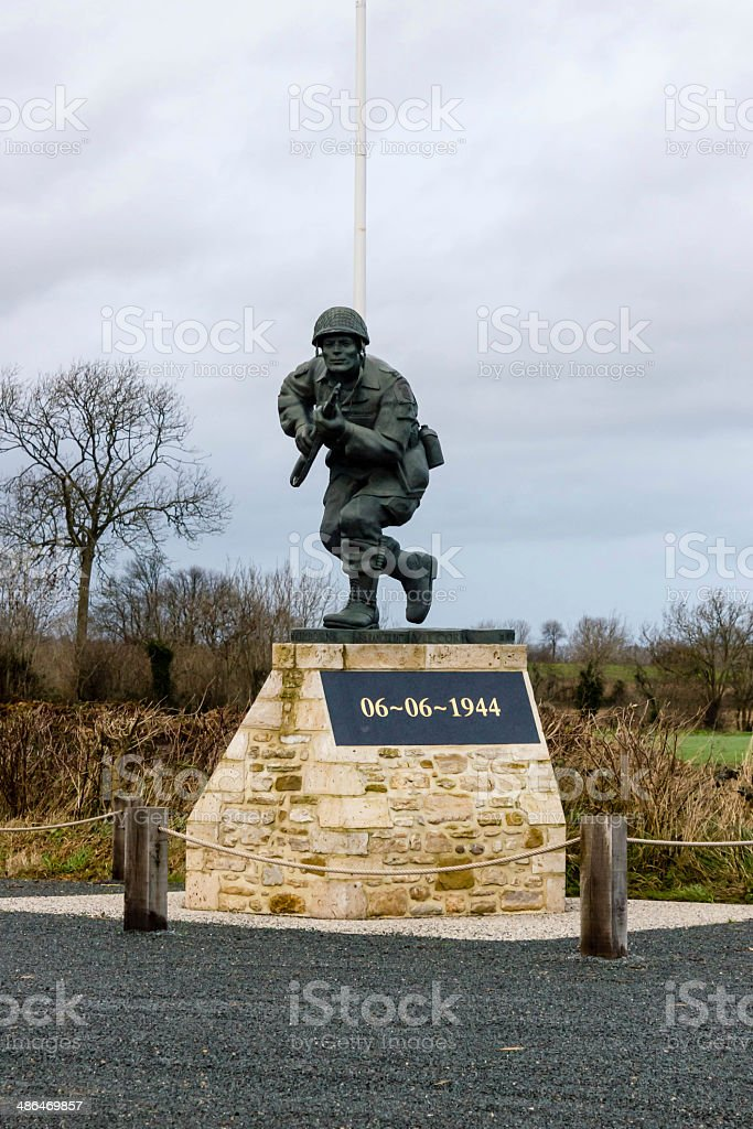 D-day soldier statue stock photo