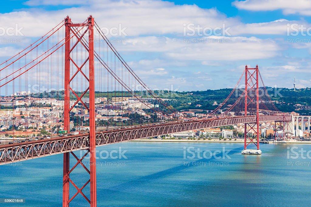 25 de Abril Bridge stock photo