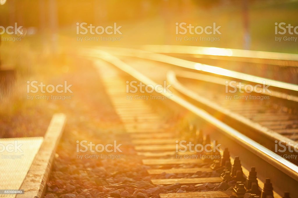 De focused railroad track stock photo