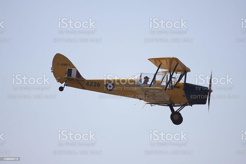 De Havilland Canada DH-82C Tiger Moth II in Flight stock photo