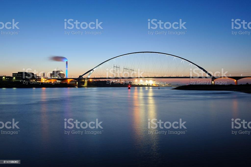 De Oversteek over the Waal River in Nijmegen stock photo