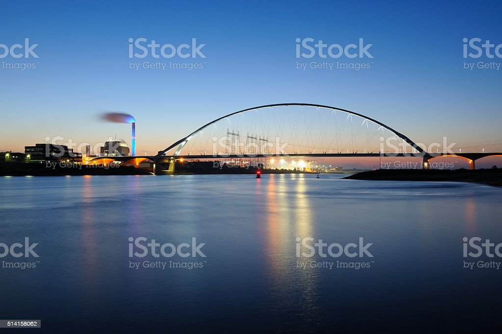 De Oversteek over the Waal River in Nijmegen stock photo