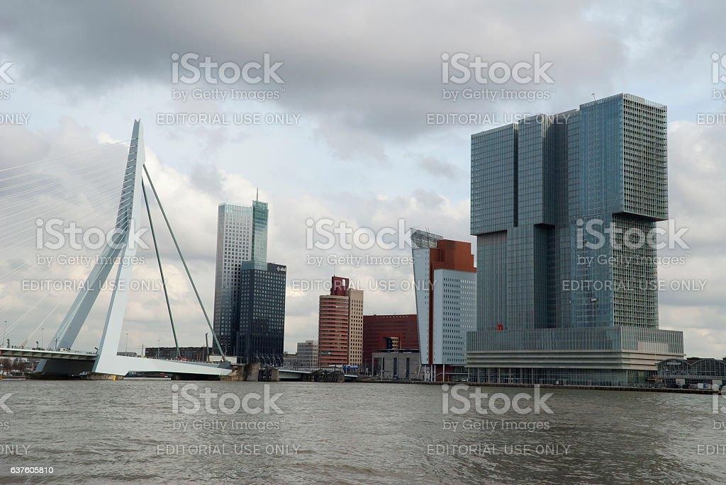 De Rotterdam building and the Erasmus bridge, the Netherlands stock photo