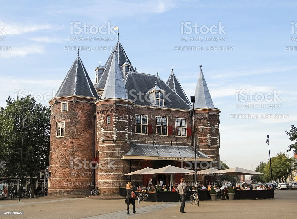 De Waag, medieval building in Amsterdam stock photo