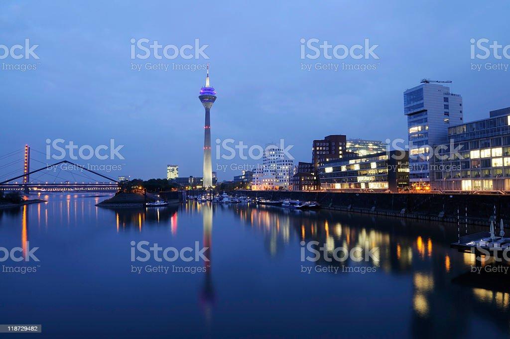 De_sseldorf skyline in Medienhafen at night royalty-free stock photo