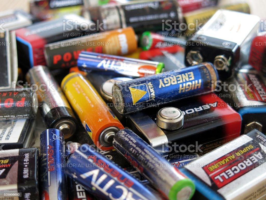 Dead batteries, Battery waste stock photo
