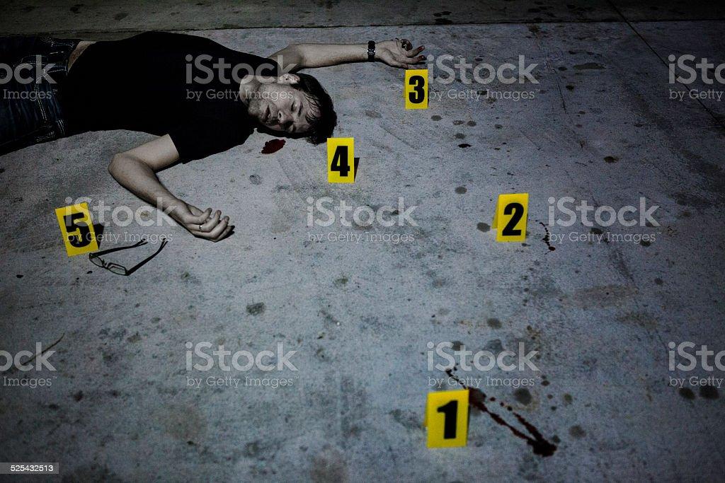 Dead Body at Crime Scene stock photo