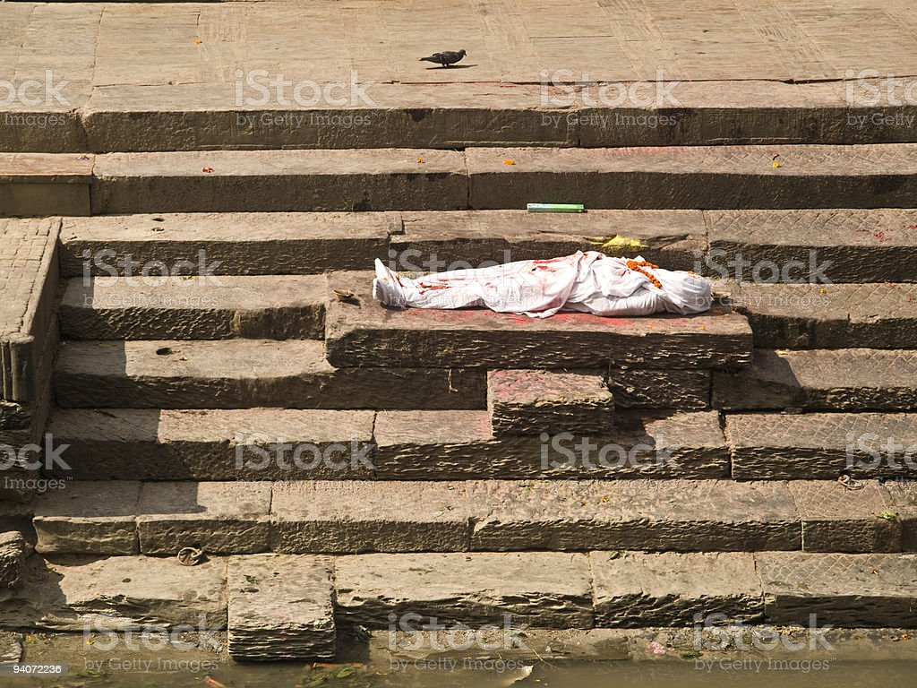 Dead body to be cremated,Pashupatinath royalty-free stock photo